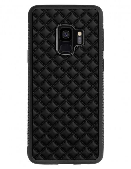 Etui premium skórzane, case na smartfon SAMSUNG GALAXY S9. Skóra pik czarna mat.