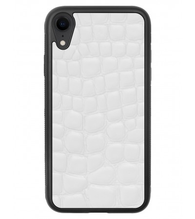 Etui premium skórzane, case na smartfon APPLE iPhone XR. Skóra crocodile biała.