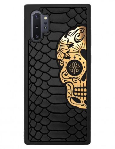 Etui premium skórzane, case na smartfon SAMSUNG GALAXY NOTE 10 PRO. Skóra python czarna mat ze złotą czaszką.