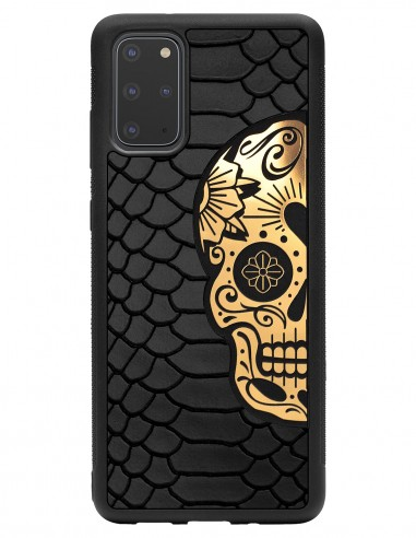 Etui premium skórzane, case na smartfon SAMSUNG GALAXY S20 PLUS. Skóra python czarna mat ze złotą czaszką.