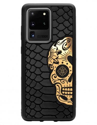 Etui premium skórzane, case na smartfon SAMSUNG GALAXY S20 ULTRA. Skóra python czarna mat ze złotą czaszką.