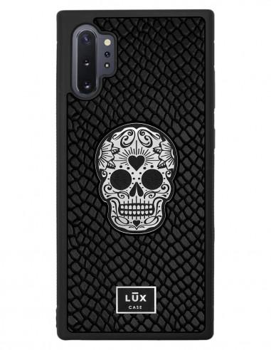 Etui premium skórzane, case na smartfon SAMSUNG GALAXY NOTE 10 PRO. Skóra iguana czarna ze srebrną blaszką i czaszką.
