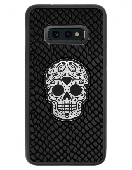 Etui premium skórzane, case na smartfon SAMSUNG GALAXY S10E. Skóra iguana czarna ze srebrną czaszką.