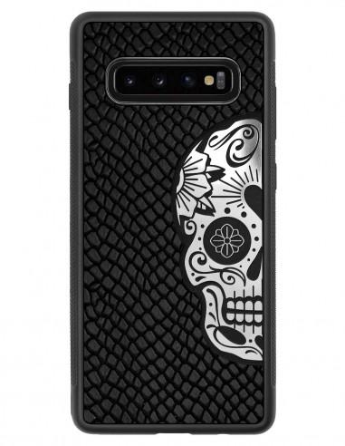 Etui premium skórzane, case na smartfon SAMSUNG GALAXY S10 PLUS. Skóra iguana czarna ze srebrną czaszką.