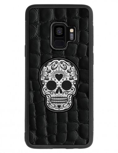 Etui premium skórzane, case na smartfon SAMSUNG GALAXY S9. Skóra crocodile czarna ze srebrną czaszką.