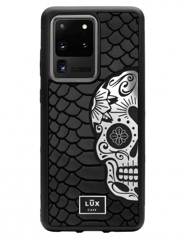 Etui premium skórzane, case na smartfon SAMSUNG GALAXY S20 ULTRA. Skóra python czarna mat ze srebrną blaszką i czaszką.