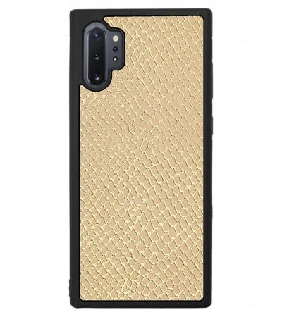 Etui premium skórzane, case na smartfon SAMSUNG GALAXY NOTE 10 PRO. Skóra iguana gold.
