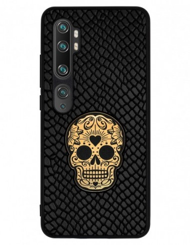 Etui premium skórzane, case na smartfon XIAOMI REDMI 9C PRO. Iguana czarny ze złotą czaszką