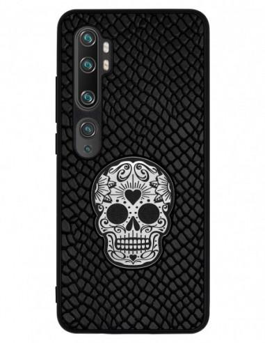 Etui premium skórzane, case na smartfon XIAOMI REDMI 9C PRO. Iguana czarny ze srebrną czaszką