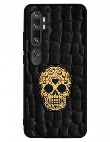 Etui premium skórzane, case na smartfon XIAOMI REDMI 9C PRO. Crocodile czarny ze złotą czaszką