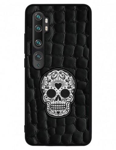 Etui premium skórzane, case na smartfon XIAOMI REDMI 9C PRO. Crocodile czarny ze srebrną czaszką