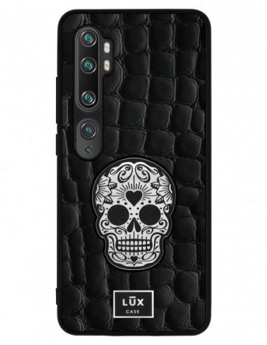 Etui premium skórzane, case na smartfon XIAOMI REDMI 9C PRO. Crocodile czarny ze srebrną czaszką ze złotą blaszką