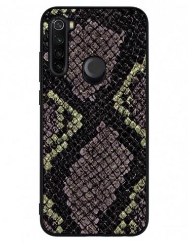 Etui premium skórzane, case na smartfon XIAOMI REDMI NOTE 8T. Gold snake