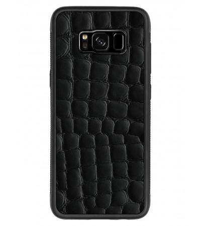 Etui premium skórzane, case na smartfon SAMSUNG GALAXY S8. Skóra crocodile czarna.