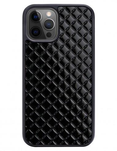 Etui premium skórzane, case na smartfon APPLE iPhone 12 PRO. Skóra pik czarna błysk.